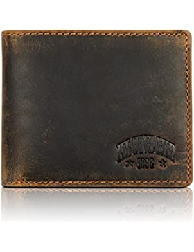 Klondike 1896 Cartera de cuero auténtico 'Caleb' en formato horizontal con solapa plegable interior para, marrón