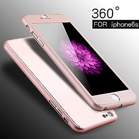 ividz iPhone 6s/6s Plus, 360grados Protección completa para Iphone 6S 6S Plus, Ultra Thin Carcasa rígida con protector de pantalla de cristal templado para iPhone 6S/6S Plus 4.75.5, oro rosa,