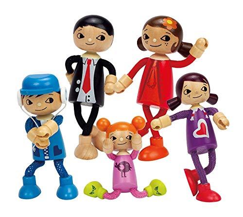 Puppenfamilie Komplett-Set: Papa, Mutter, Tochter, Mädchen & Sohn und Märchenbüchlein
