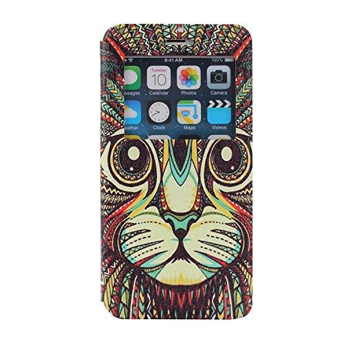 MOONCASE iPhone 6Plus Case Slim Window View Design Coque en Cuir Portefeuille Housse de Protection Étui à rabat Case pour Apple iPhone 6 / 6S Plus (5.5 inch) XB26 XB10 #1223