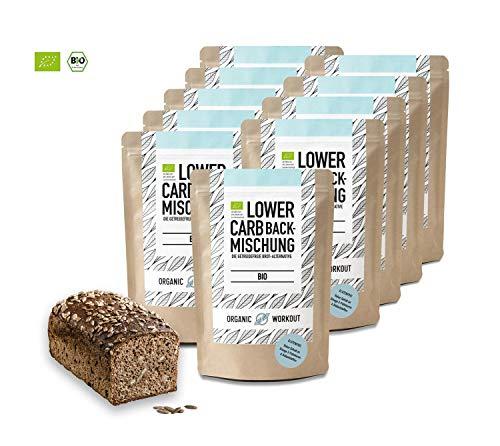 Organic Workout LOWER-CARB-BACKMISCHUNG 10er Pack - Bio | paleo | glutenfrei | eiweissbrot-alternative | ballaststoffreich | ohne Zuckerzusatz | ohne Getreide | hergestellt in Deutschland
