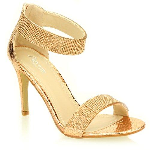 Femmes Dames Soir Mariage Party Mariée Haute Talon Open Toe Diamante Sandale Chaussures Taille (Or, Champagne, Noir, Argent) Champagne