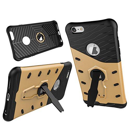 KaiTelin Schutzhülle Apple iPhone 7 plus Hülle - Doppelschicht Kombination Harte Schale 360° Drehen Ständer Fall Stoßfest für Apple iPhone 7 plus - Silber Gold