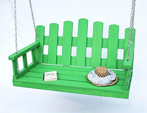 Banque Balançoire suspendue avec chaînes et coussin pour balancelle de jardin Balancelle Vert Bleu Rouge Jaune vert