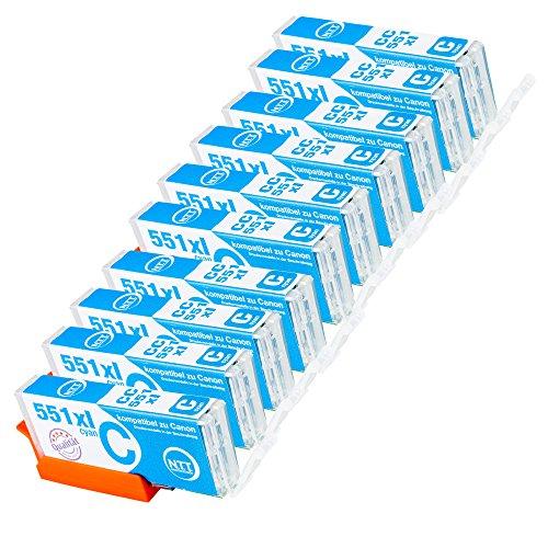 N.T.T.® 10 kompatible Druckerpatronen für PGI-551 Cyan
