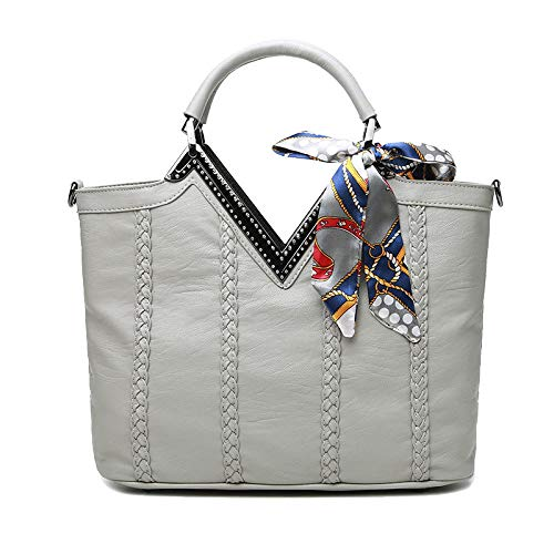 LAIDAYE Rucksack Für Frauen Große Kapazität Tote Bag Elegante Seide Schal Mit Diamanten Handtaschen Gewebte Dekorative Umhängetasche Einfache Umhängetasche,Grey-33.5 * 11 * 26cm (Seide Schal Handtasche)