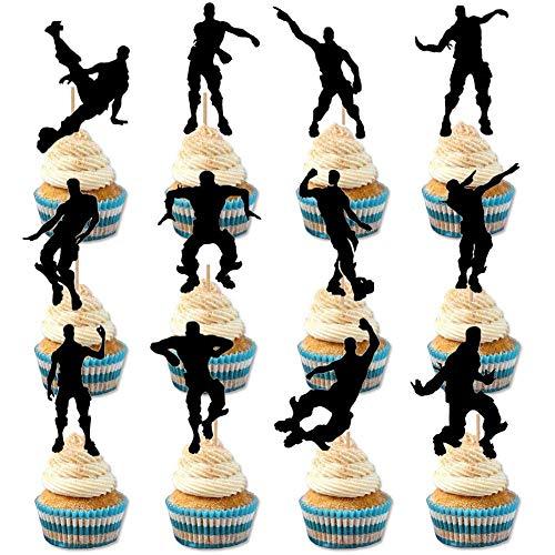 HASAKA 24 St¨¹cke Spiel Thema Cupcake Toppers Party Favor Dance Floss Happy Birthday Kuchen Dekoration Spiel Partei Liefert (Cupcake Birthday Party)