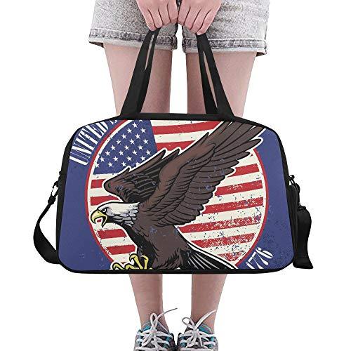 American Eagle Handtasche (American Independent Day Symbol Eagle Benutzerdefinierte Große Yoga Gym Totes Fitness Handtaschen Reise Seesäcke mit Schultergurt Schuhbeutel für die Übung Sport Gepäck für Mädchen Frauen Frauen)
