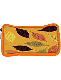 Snoogg Eco Friendly Canvas Seamless Pattern With Leaf Student Pen Pencil Case Coin Purse Pouch Cosmetic Makeup...