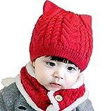Lazeny Baby Strickmützen Niedlich Katzenohren Kindermützen Wintermütze mit Schal Häkelstrick Winter Warm Hüte Twist Gestrickte Kappe Schnee Hut für Mädchen Jungen Kleinkind (5-28 Monate)-Rot