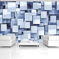 Idea Regalo - WallArena | Carta da Parati Fotografica da Parete murale, 130g/m², in Tessuto Non Tessuto | Squares 3D | | 20069_ ve-AW | Astrazione Squares 3D Blu, Blue,White, VEM (104cm. x 70,5cm.)