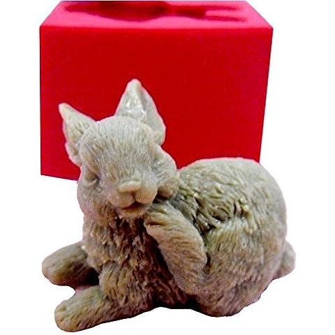Stampo In Silicone Per Uso Artigianale Rappresentante Il Calco Di Un Coniglio Con La Zampa Alzata