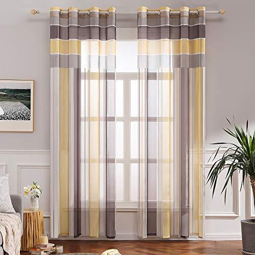 Miulee voile tenda finestra con occhielli a pannello tende trasparenti righe per soggiorno e camera da letto 2 pannelli 140 x 260 cm marrone giallo