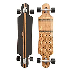 Apollo Longboard Nuku Hiva, Bambus Komplettboard, Twin-Tip Drop-Through Freeride Skaten Cruiser Board