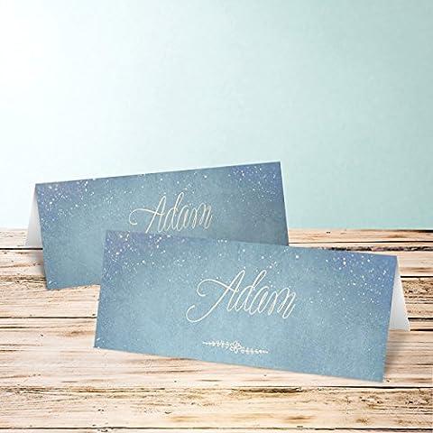 Tischkarten Hochzeit Vorlagen, Zauberlicht 10 Karten, Horizontale Klappkarte 100x38, Blau