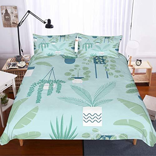 Soefipok Sommer Bettbezug Twin Size 3D Topfpflanzen Grüne Tagesdecke Gedruckt Frische Hellblaue Bettwäsche Set für Kinder, Jungen, Mädchen und Erwachsene, 3 Stück mit 1 Bettbezug 2 Kissenbezug (Bettwäsche-sets Twin Jungen)