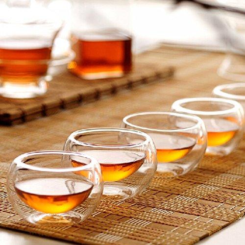 5Pcs 35Ml Transparent Hitzebeständig Doppelwand Glas Mini Kung-Fu Teetasse