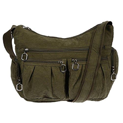 Christian Wippermann®, Borsa a spalla donna grigio grigio chiaro 31x24x11 cm verde