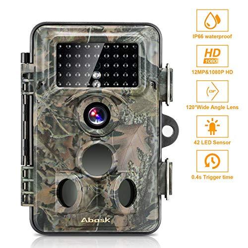 Wildlife Camera, Trail Surveillance étanche Scoutisme Digital Camera 3Zones détecteur Infrarouge 12MP HD 1080p avec Timelapse 19,8m 120° Grand Angle Vision Nocturne pour Jeu et la Chasse