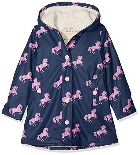 Hatley Mädchen Sherpa Lined Splash Jackets Regenjacke, Blau (Horse Silhouettes), 5 Jahre -