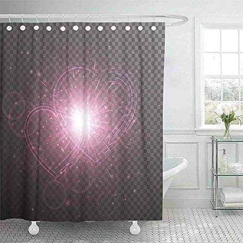 LINGJIE Duschvorhang Pink Bling Brilliant with Bright Light Wedding Festive Hearts on Colorful Affectivity Shower Curtain Shower Curtain with Plastic Hooks - Duschvorhang Pink Bling