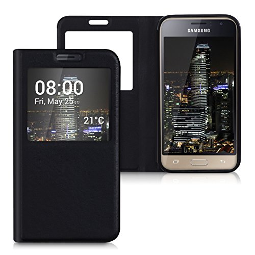 kwmobile 38403.01 Funda para teléfono móvil Libro Negro - Fundas para teléfonos móviles (Libro, Samsung, Galaxy J1 (2016), Negro)