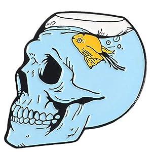 Aisoway Der Skeleton Katze Pins Geist Abzeichen Sea Life-Revers-Stifte Gothic Schädel-Liebe Broschen