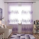 YOSEMITE Embroidered Lavendel mit Tasche, Vorhang mit decor-100cm X 200cm, Polyester, violett, Einheitsgröße