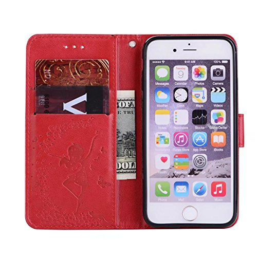 Abnehmbare 2 in 1 Crazy Horse Texture PU Ledertasche, Fairy Girl Embossed Pattern Flip Stand Case Tasche mit Lanyard & Card Cash Slots für iPhone 7 ( Color : Gray ) Red