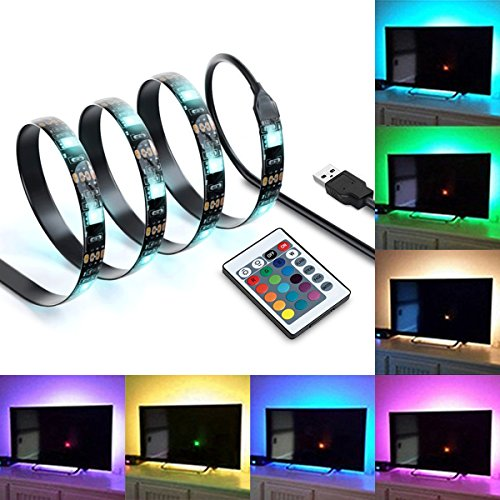 "IREGRO Tiras LED Iluminación 2M 60LED para 40""-60"" TV USB Powered LED Tira de TV, Tira Ligera del Cambiante RGB 16 Colores con Mando a Distancia 24 Keys"