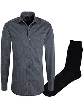 ETERNA Herrenhemd Slim Fit, anthrazit, Cotelé, Haifisch Kragen + 1 Paar hochwertige Socken, Bundle