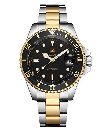 AOKULASIC Mens Automatic Self-Wind Wrist Watch with 100Ft Waterproof and Classic Date Displayer.