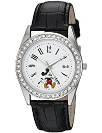 Disney Women's 'Mickey Mouse' Quartz Metal Casual Watch, Color:Black (Model: WDS000380)