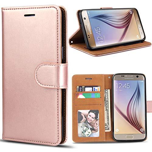 Bozon Galaxy S6 Hülle, Leder Tasche Handyhülle Flip Wallet Schutzhülle für Samsung Galaxy S6 mit Ständer und Kartenfächer/Magnetverschluss (Rose Gold)