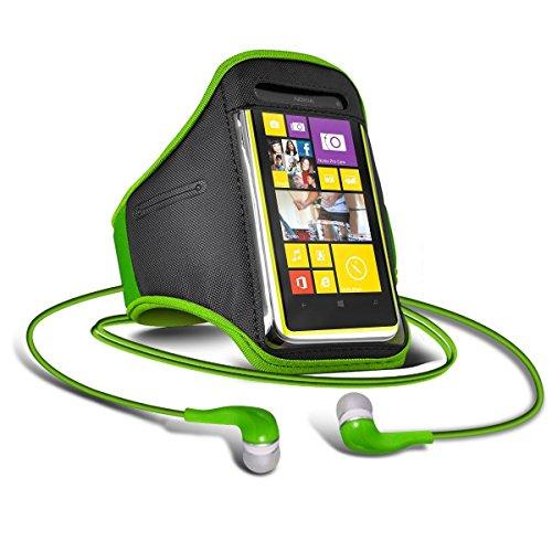 C63 ®-Samsung Galaxy S4 i9500 zum Joggen, Walken, Verstellbare Arm-Kopfhörer (3,5 mm)-grün