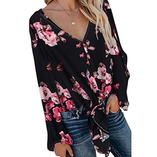 DOFENG Damen T Shirt Bluse Sweatshirt Damen Hauchhülse Lange Ärmel Mode Locker Blume Drucken Lässig V Neck Pullover Oberteil Tops (Schwarz, X-Large)