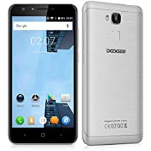 "Doogee Y6 - Smartphone libre Android 6.0 (4G LTE, Pantalla 5.5"", Quad Core, 16GB ROM, 2GB RAM, Camara 13MP, Dual SIM, OTG), Plateado"