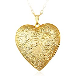 Via Mazzini 18K Real Gold Plated Hallmarked Heart Photo Locket Pendant (NK0394)