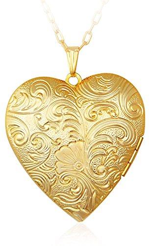 Via Mazzini 18K Real Gold Plated Hallmarked Heart Photo Locket Pendant (NK0394)