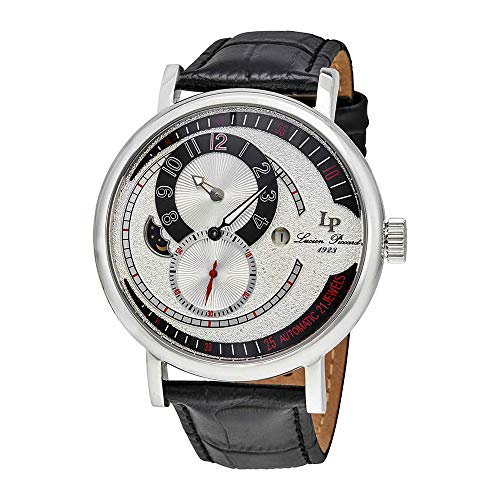 Lucien Piccard Supernova Regulator Auto Black Genuine Leather Silver-Tone Dial Mens Watch 15157-02S