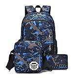 Zaino Casual Scuola Set 3pcs Daypacks/Backpack Zaini Donna/Uomo + Messenger Bag + Purse Blu