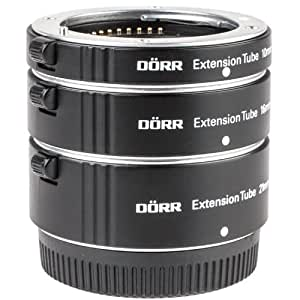 Dörr Autofokus Zwischenring-Satz (Makro-Zwischenringe) für Micro Four Thirds (MFT) - z.B. für Panasonic Lumix G6 G5 G3 GH3 GH2 GF6 GF5 GX7 GX1 GM1 Olympus Pen E-P5 E-PL6 E-PL5 OM-D E-M5 E-M1 etc.