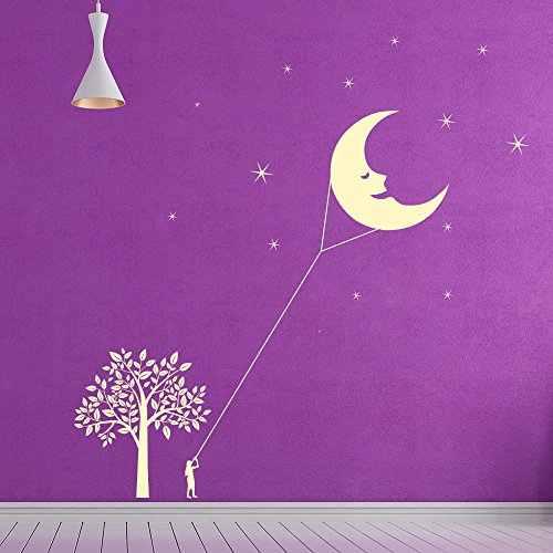 azutura Drachen Mond Wandaufkleber Szene Sterne Wandtattoo Kindergarten Wohnkultur verfügbar in 5 Größen und 25 Farben X-Groß Ozean Blau (Ozean-szenen Wandtattoos)