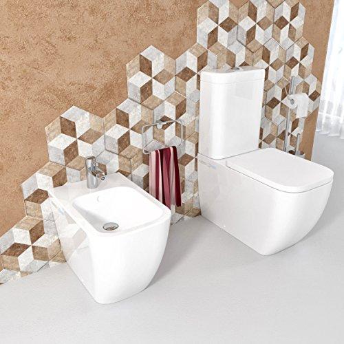 Sanitari bagno Bidet e Vaso WC monoblocco Legend filomuro con coprivaso sedile softclose