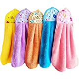 SHOP BY ROOM Hanging Hand Cotton Velvet Napkin for Wash and Kitchen Basin (42 x 30 cm; Assorted Colour) - Set of 3
