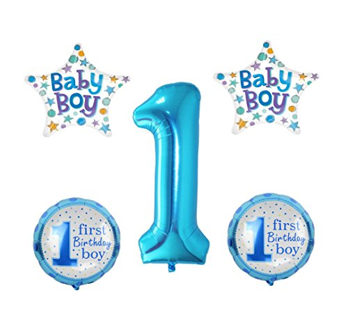 RM  Globo de aire 5 x XL Baby Boy Birthday Cumpleaños 1. Cumpleaños Año Happy Birthday bebés 1st Birthday Party Boy Niño Azul  RM