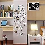 XYL Home Herzblatt Wand Paste Personalisierte Stereoscopic TV wandsticker - Kristall geklebt zurück zu Alten Stil Spiegel Wand Aufkleber Modernen Schlichten Stil Wand Aufkleber,die Silbernen,2 Sets