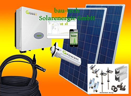 1000Watt Photovoltaikanlage für Eigenverbrauch Plug & Play Komplettset mit Montagematerial für Flachdach von bau-tech Solarenergie GmbH