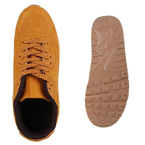 Herren Sportschuhe Leder-Optik | Sneakers Velours Glitzer | Metallic Runners | Freizeitschuhe Schnürer Braun Brown
