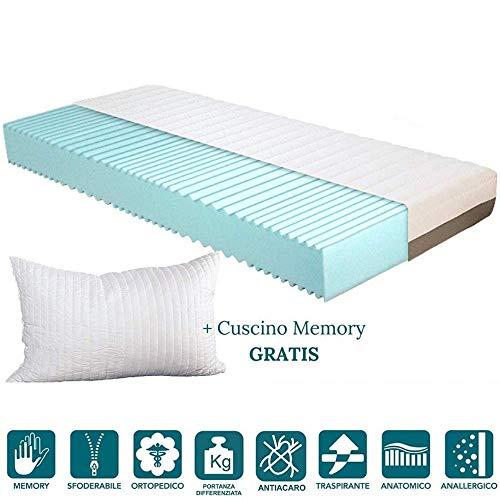 Evergreenweb - materasso singolo 90x190 memory foam alto 20cm con cuscino letto gratis, ortopedico lastra effetto massaggiante, sfoderabile e lavabile, ideale per tutte le reti o letti singoli offerta